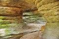 Narrow path in bledne skaly in gory stolowe polska poland among rock walls sudety mountains Stock Photos