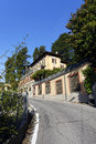 The narrow road to brunate town very winding from como city italy sept Stock Photography