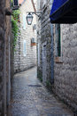 Narrow stone street in old town european Stock Image