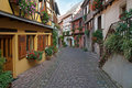 Narrow street in Alsace, France Stock Image