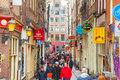 Narrow street of Amsterdam Royalty Free Stock Photo