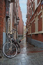 Narrow street in the Amsterdam center Royalty Free Stock Photo