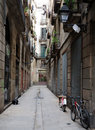 Narrow street in Barcelona Stock Photography