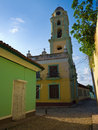 Narrow street and church in Trinidad, Cuba Royalty Free Stock Photography