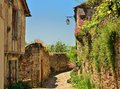 A narrow street in cordes sur ciel a small medieval city in france on hill southern near albi and toulouse Royalty Free Stock Photography
