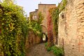 A narrow street in cordes sur ciel a small medieval city on a h hill southern france near albi and toulouse Stock Image