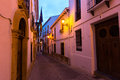 Narrow street in european city. Ronda Royalty Free Stock Photo