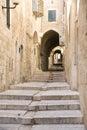 Narrow street in Jewish Quarter, Jerusalem Royalty Free Stock Photo