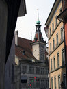 Narrow street in Lausanne, Swi Royalty Free Stock Photos
