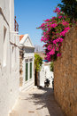 Narrow street in Lindos.Rhodes island Stock Photo