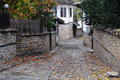 Narrow street in lovech narow cobbled and fallen leaves the town of bulgaria the fall Royalty Free Stock Image