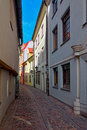 A narrow street in medieval town Stock Photography