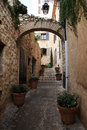 Narrow street in the medieval town Stock Photos