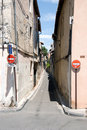 Narrow street no entry signs Royalty Free Stock Photography