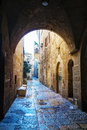 Narrow street in old city of jerusalem israel Royalty Free Stock Images