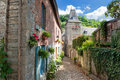 Narrow street in old european town Royalty Free Stock Photo