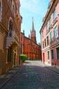 A narrow street in old town Royalty Free Stock Photo