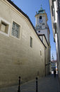 The narrow street in old town bratislava slovakia with the old town hall and cathedral in background Royalty Free Stock Images