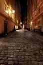 Narrow Street in Old Town (Gamla Stan) of Stockholm, Sweden Royalty Free Stock Photo