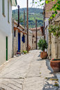 Narrow street old village omodos cyprus Stock Photography