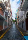 Narrow street a picturesque of old san juan puerto rico Royalty Free Stock Images