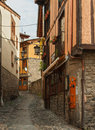 The narrow street in potes with old houses cantabria spain Royalty Free Stock Images
