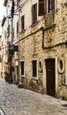 Narrow street in Rovinj, Croatia.