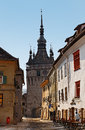 Narrow street in Sighisoara Stock Image