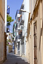 Narrow street in Sitges during Summer siesta Royalty Free Stock Photography