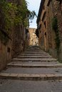 Narrow street with staircase in Piazza Armerina to Royalty Free Stock Photos