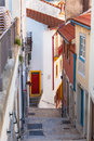 Narrow Street with Stairs in Old Town, Coimbra Royalty Free Stock Image