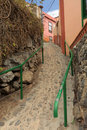 Narrow street of vallehermoso little town on la gomera island canaries spain Stock Photos