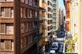 Narrow streets of Alicante city center. Spain