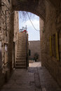 Narrow streets of old city jerusalem historical Royalty Free Stock Photography