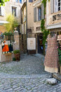 Narrow streets with various galleries and shops in Gordes , Provance Royalty Free Stock Photo
