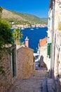 Narrow streets of vis island vertical view dalmatia croatia Royalty Free Stock Photography
