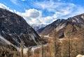 Narrow valley of Irkut River. In background is an array of Munku-Sardyk. Okinsky District. Republic of Buryatia. Russian Federatio