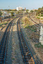 Narrow view of curve train tracks from the foot over bridge,  Chennai, Tamil nadu, India, Mar 29 2017 Royalty Free Stock Photo