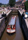 Narrowboat in lock, Stoke Bruerne. Royalty Free Stock Photo