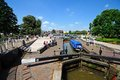 Narrowboat in lock, Stratford-upon-Avon. Royalty Free Stock Photo