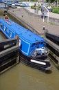 Narrowboat in lock, Stratford-upon-Avon. Royalty Free Stock Photo