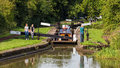Narrowboat in Lock, Worcester and Birmingham Canal. Royalty Free Stock Photo