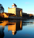 Narva castle in estonia with reflection Royalty Free Stock Image