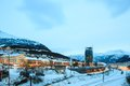 Narvik town square cityscape at dusk norway Royalty Free Stock Photo