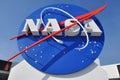 NASA LOGO AT THE ENTRANCE TO THE SPACE CENTER Royalty Free Stock Photo