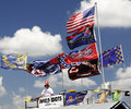 NASCAR - Colorful Flags and Fans Royalty Free Stock Photography