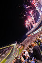 NASCAR - Fireworks in Turn 2 in Charlotte Stock Photos
