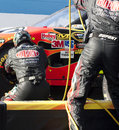 NASCAR's Jeff Gordon pit stop on pit lane Royalty Free Stock Photo