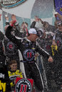 Nascar sprint cup kevin harvick in victory lane driver celebrates with crew at phoenix international raceway driver Stock Photo