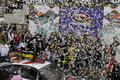 Nascar sprint cup kevin harvick in victory lane driver celebrates with crew at phoenix international raceway driver Royalty Free Stock Images